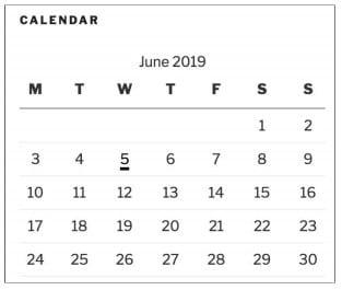 виджет календаря