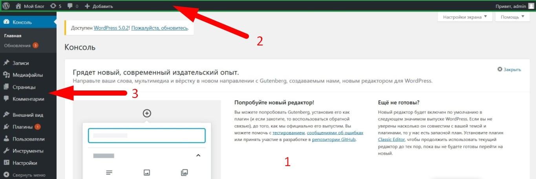 Экран панели управления WordPress