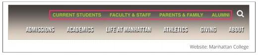 Второе меню Манхэттенского колледжа