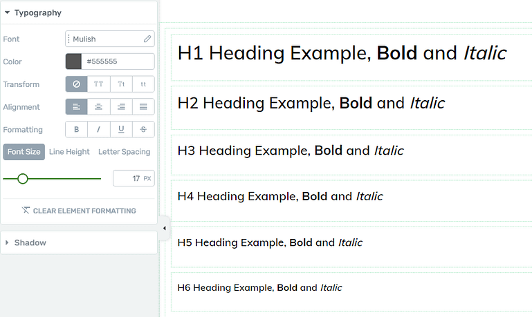 Редактирование типографики в Thrive Apprentice