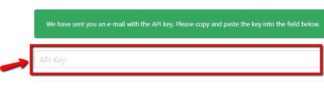 вставьте «Ключ API»