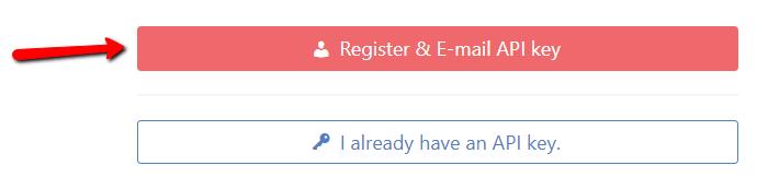 Зарегистрировать и отправить ключ API по электронной почте