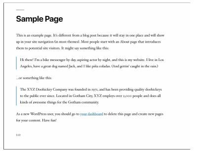 образец страницы в WordPress